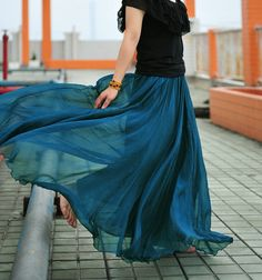 17 Colors Double Silk Chiffon Long Skirt / Summer Skirt/ Maxi Dress/ Bridesmaid Dress. $55.00, via Etsy.