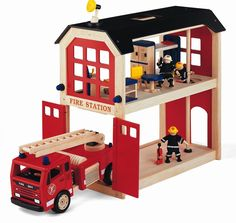 Pintoy Fire Truck and Station John Crane, Top Toys, Fire Trucks, Wooden Toys, Kids Toys, Toddler Bed, Barn, Children, Room