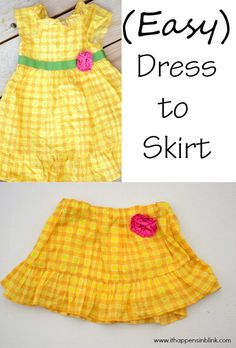 Easy Dress to Skirt Refashion - great for dresses for little girls to get more life out of them.
