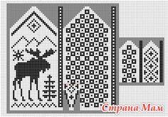 Norwegian pattern: Mittens moose knit chart More Knitted Mittens Pattern, Knitting Socks, Knitting Charts, Knitting Stitches, Knitting Patterns, Free Knitting, Knitting Designs, Diy Accessories, Crafts