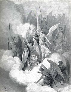 """Gustave Doré - """"Lucifer & Abdiel, (1868) - Seraph or Angel in Milton's Paradise Lost. Hebrew meaning Servant of god. Abdiel opposed the revolt of Satan against the Lord, who cast out Satan and his accompanying fallen from Heaven."""