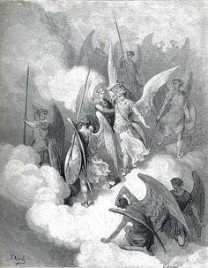 """Gustave Doré - """"Lucifer & Abdiel, un séraphin et l'un de ses compagnons qui, choisissant de rester fidèle à Dieu, est le seul à refuser de se joindre à sa révolte"""" (1868) - Le Paradis perdu (Paradise Lost) est un poème épique écrit par le poète anglais John Milton en 1667. Le poème traite de la vision chrétienne de l'origine de l'Homme, en évoquant la tentation d'Adam & Ève par Satan, puis leur expulsion du Jardin d'Éden."""