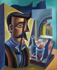 Fortunato Depero, Man with moustache and aperitif, 1944 private collection