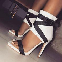 Good Chance for DEleventh Brand Fashion Women's Shoes Fabric belt Rome Gladiatoe Peep-toe Color Collision Patchwork Stilettos High Heels San. Super High Heels, Black High Heels, High Heels Stilettos, Stiletto Heels, Caged Heels, Hot Shoes, Women's Shoes, Shoe Boots, Fancy Shoes