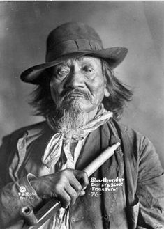 "Blue Thunder - Santee Sioux and scout for the US military.  He and 4 other scouts once fought an all day, 50 mile running gun fight on horseback at Little Heart Butte, fourteen miles from Fort Abraham Lincoln.  Their actions held off an estimated 100 ""wild"" Sioux from attacking the fort.  All the scouts were given medals except Blue Thunder, because he was not considered an American citizen, having been born in Canada rather than the U.S.  He died sometime in the 1920's."