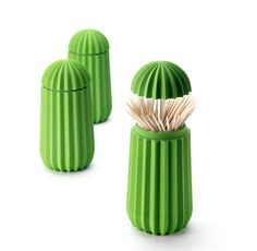 Cactus toothpick holder, plastic, green