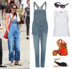 Katie Holmes brings the chic summer overall to the city.