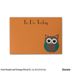 Cute Purple and Orange Floral Owl Post It Note Post-it® Notes