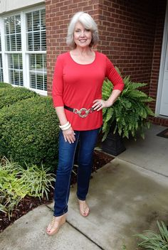 Fifty, not Frumpy wearing the red Simple Comfort from Covered Perfectly
