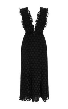 Satin Dot V-Neck Dress by Cushnie et Ochs for Preorder on Moda Operandi