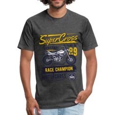 SuperCross - Fitted Cotton/Poly T-Shirt by Next Level – Affinity Home Vibes Fabric Weights, Tees, Fitness, Sports, Cotton, Mens Tops, T Shirt, How To Wear, Hs Sports