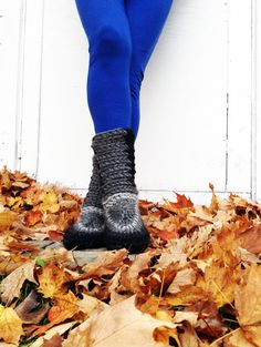 Crochet Slipper Boots with Leather Soles For by MuffleUpSlippers