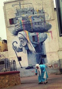 Street Art by Mouhim Simo in Casablanca, Morocco Graffiti Art, Art Banksy, Murals Street Art, Mural Art, Bansky, Mural Painting, Best Street Art, Amazing Street Art, Amazing Art