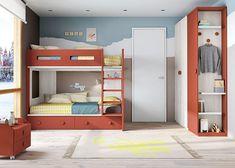 Habitación infantil con litera con cajones y armariada