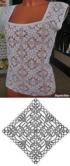 Crochet beautiful and delicate white top. Free patterns for crochet top Pull Crochet, Crochet Blouse, Crochet Lace, Crochet Tops, Free Crochet, Top Pattern, Free Pattern, Ladies Tops Patterns, Knitting Patterns