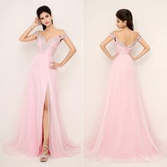 Wholesale 2015 Evening Dress Formal - Buy SSJ XU013 In Stock US Size 4~14 Off Shoulder Pink Beaded Pleats 2015 New In Stock Backless Prom Gown Evening Dresses Homecoming Chiffon, $124.32 | DHgate