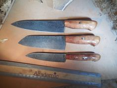 Custom Damascus Chef Knife Set With Redwood Handles Damascus Chef Knives, Damascus Steel, Chef Knife Set, Knife Sets, Tomato Knife, Aspen Wood, Fancy Kitchens, Skinning Knife, Specialty Knives