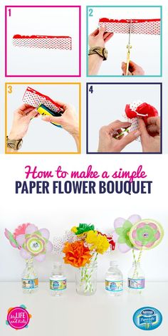 """Tissue paper, cupcake liners and paper straws are all you need to make these simple paper flower bouquets. And what better vase than a NESTLÉ Pure Life Kid Designed Edition bottle? These bottles feature eight winning designs from the 2016 """"Share Your Smile"""" contest and will keep your kids hydrated while they enjoy spring crafting."""