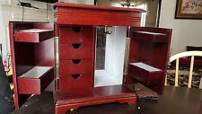 Armoire Jewelry Box  Drawer Assorted Dividers Wooden