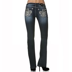 Miss Me Women's Fleur Cut Out Boot Cut Jeans