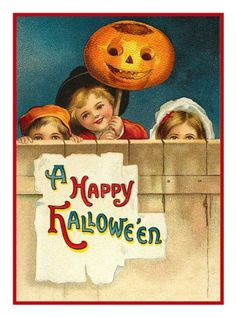 Victorian Halloween Pumpkin Children Happy Halloween! Counted Cross Stitch or Counted Needlepoint Pattern