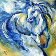 Art: BLUE RAIN EQUINE ART by Artist Marcia Baldwin