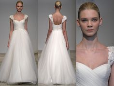 Christos – A-Line, sweetheart, cap sleeve, tulle, embroidery embellishments, drool.  With a high Bridget Bardot do.