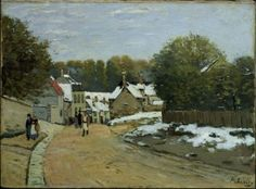 Snow again. Alfred Sisley, Early Snow at Louveciennes, about 1870–71.