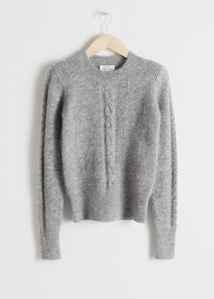 Cable Knit Sweater - Grey - Sweaters - & Other Stories Cool Sweaters, Cable Knit Sweaters, White Sweaters, Color Block Sweater, Grey Sweater, How To Purl Knit, S Models, Clothes For Sale, Sweater Outfits
