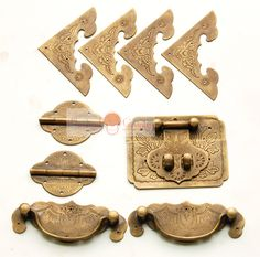 Aliexpress.com : Buy Antique Chinese Furniture Brass Hardware Chest Hinge Trunk Snap Catch Jewelry Box Handle Corners 9pcs from Reliable hardware dvd suppliers on Chinese hardware