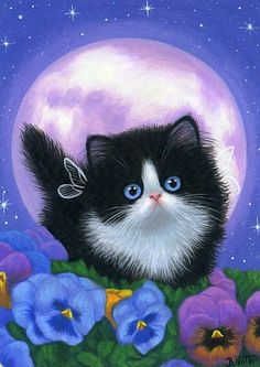 """""""Viola's Moon"""" by B. Voth. - Little Viola is wandering among the pretty pansies on a moonlit summer night in the flower garden."""