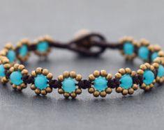 Beaded Bracelets, Stone Brass Beads Bracelets, Light Blue Daisy Bracelets, Boho Bohemian Chic, Flower Girl Women Hippy Bracelets
