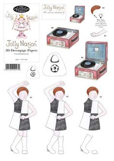 60s Girl - Jolly Nation Decades A4 decoupage