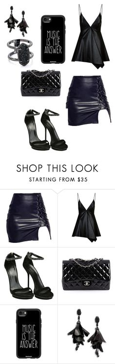 """""""leather"""" by renyawhite on Polyvore featuring Valentino, Gucci, Chanel, Casetify, Oscar de la Renta and Kendra Scott"""