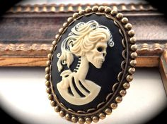 Huge Skull Cameo Ring by DeadlyRomanticGirl