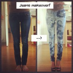 DIY fashion bleached jeans