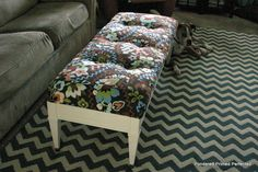 use old coffee table for another seating bench at home, old pillow, old sheets, staple gunned to coffee table! Genius!