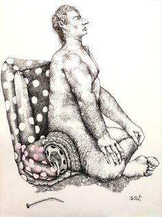 """Deflated/Dégonflé - Ink and watercolour on paper/Encre et aquarelle sur papier - 24"""" x 18"""" / 61 x 46 cm Art, Ink, Paper, Watercolor Painting, Kunst, Art Education, Artworks"""