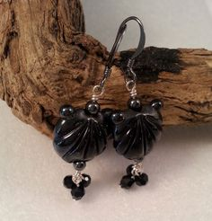 Metallic Black Lampwork Glass Seashell Earrings by ASplashOGlass on Etsy