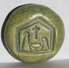 NATIVITY Pocket Stone  Ceramic  OLD COPPER Art by InnerArtPeace, $6.00