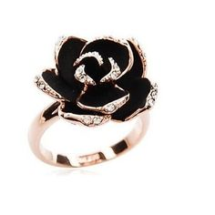 Size 7 Womens 14K Rose Gold Plated AAA CZ with Black Flower Shape Ring E-I37 #Handmade #Rings