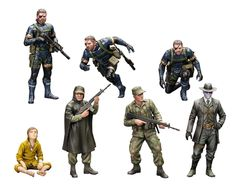 Collect these detailed Metal Gear Solid V: Ground Zeros figures! Snake takes on a mission that becomes a major turning point in his life! This Camp Omega set from the revolutionary Hideo Kojima game includes three figures of Snake (standing, running, crouching), one Skull Face figure, a sitting Chico figure, and two Marines (one normal and one with a poncho. These figures can be equipped with the ...