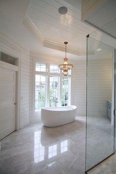 Crystal Chandelier Over Tub - Contemporary - bathroom - Veranda Interiors Bathroom Vanity Tray, Master Bathroom, Veranda Interiors, Stone Tile Flooring, Tiled Floors, Tongue And Groove Panelling, Painting Wood Paneling, Transitional Bathroom, Grey Bathrooms