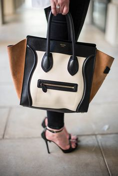 Celine Black/Bone and Suede Trapeze Luggage Tote