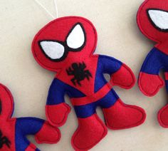 Spiderman Felt Ornament by HebCrafts on Etsy