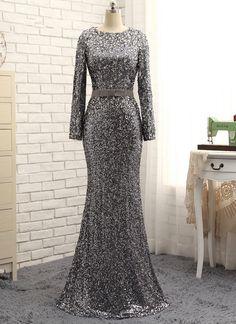 Gray Evening Dresses Mermaid Long Sleeves Crystals Sparkle #prom #promdress #dress #eveningdress #evening #fashion #love #shopping #art #dress #women #mermaid #SEXY #SexyGirl #PromDresses