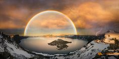 Crater lake with double rainbow and lightning bolt by Freebilly - Image of the Year Photo Contest 2016