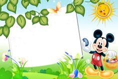 MOLDURAS INFANTIS :: IMAGENS FOTO WEB Mickey Mouse Png, Minnie Png, Easter Photo Frames, Picture Frames, Happy Easter Photos, Mickey Coloring Pages, Winnie The Pooh Pictures, Kids Background, Birthday Frames