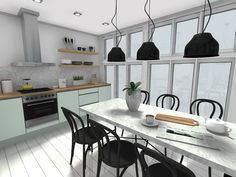 Spring Decorating Ideas: Modern kitchen design with mint green cabinets Colorful Kitchen Decor, Kitchen Colors, Galley Kitchens, Luxury Kitchens, Mini Kitchen, New Kitchen, Kitchen Trends, Kitchen Ideas, Green Cabinets
