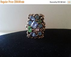 Holiday Sale Vintage Barclay Signed Rhinestone Ring, 1950's 1960's Old Hollywood Designer Signed Jewelry, Mad Men Mod, Retro High End Collec
